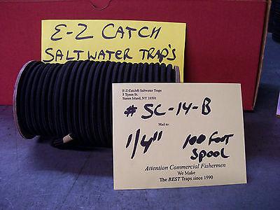 "E-Z Catch Bungee shock cord 1/4"" x 100' Spool Solid Black, USA Made Marine Grade"