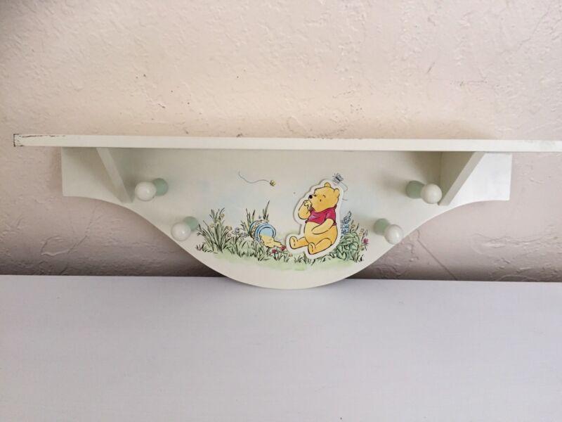 Classic Winnie The Pooh Wall Shelf Nursery Decor 4 Pegs Adorable
