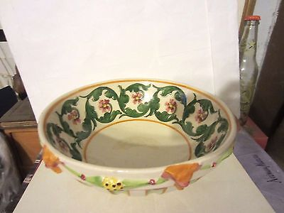 Vintage Italian Majolica Pottery 3-D Floral Swags & Drape Serving Bowl Italy NR
