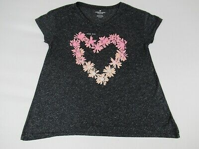 AMERICAN EAGLE OUTFITTERS FLOWER CHILD HEART -MEDIUM GRAY WOMENS T-SHIRT B890