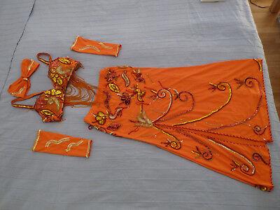 Bauchtanzkostüm Gr. 36 C orange rot gold hochwertig inkl - Tanz Kostüm Zubehör