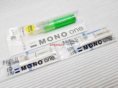 1 Plastic Eraser 4 Refills Tombow Mono One 7cm Mini Eraser Pen Green