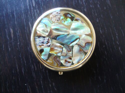 Vintage 1980s Large Mother-of Pearl Abalone Enamel Round Hinged Pill Box