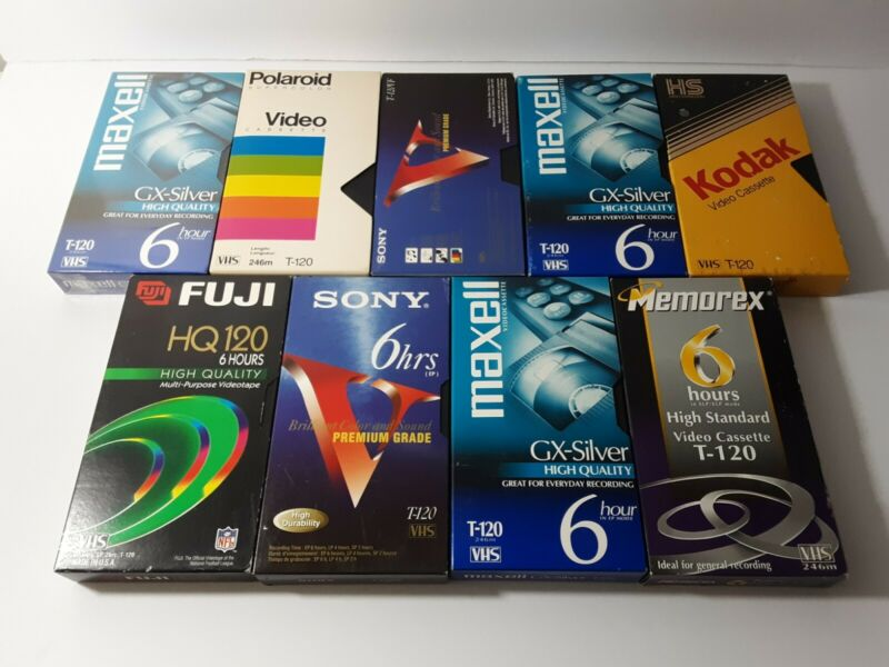 Lot Of 9 Pre-Recorded Used VHS Tapes Sold As Used Blanks