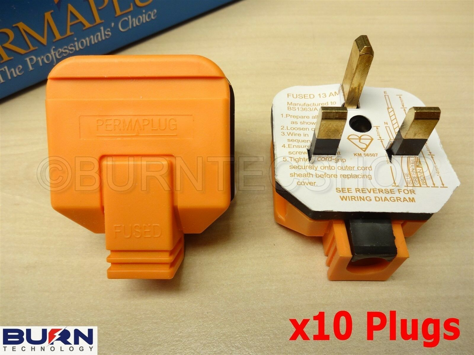 10 X Orange Heavy Duty Industrial Quality Plugs 13a Fuse Appliance X10 Wiring Diagram Uk Plug Top