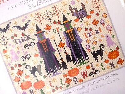 HALLOWEEN SPOOKIES COUNTED CROSS STITCH KIT SAMPLER KIT Autumn Riverdrift - Halloween Counted Cross Stitch Kits