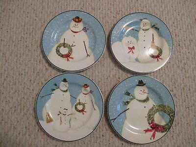 Sakura 1999 Warren Kimble Snowman Family Salad Plates 4 pc Set for sale Fishers & Warren Kimble Plates for sale | Only 3 left at -70%