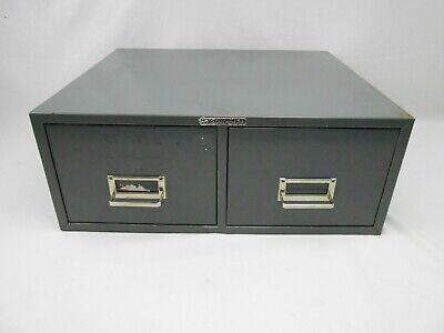 Vintage Steelmaster Metal Index Card Cabinet 2 Drawer File Holder Gray Stackable