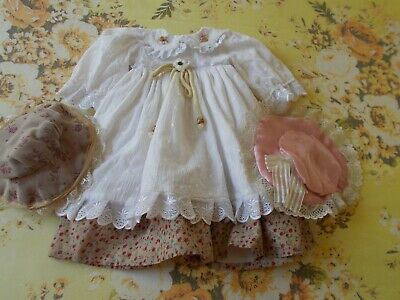 Lovely Vintage Dress - Rustic & Pretty - & 2 Hats - Bears/Dolls
