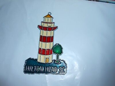 Metal & Faux Stained glass Lucite Plastic Lighthouse Suncatcher Hilton Head SC