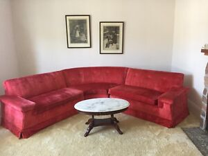 Vintage red sectional sofa
