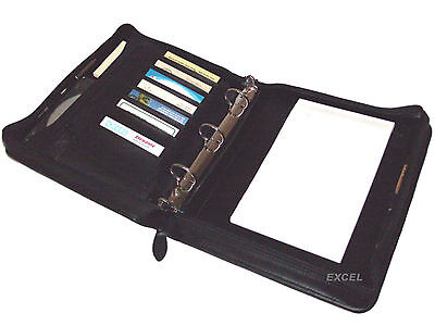 On Sale Zippered Padfolio Organizer 3 Metals Rings Jr Legal Pad Black New