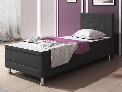Boxspringbett Esra 90x200 cm Anthrazit Webstoff Bett Hotelbett Designerbett