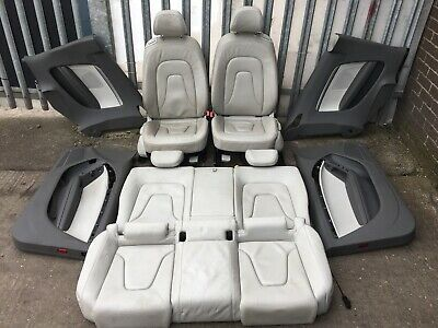 AUDI A5 8T 2008 FRONT AND REAR WHITE LEATHER SEATS SET WITH DOOR CARDS  #1A