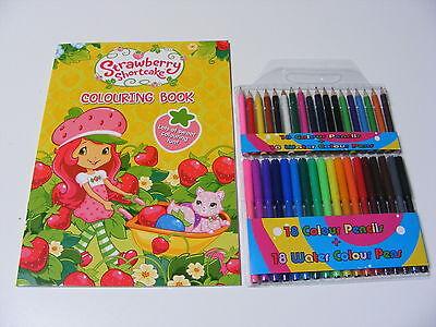 Kinder Strawberry Shortcake Färbung Malbuch 18 Stifte + 18 Bleistifte