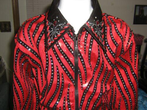 Girl L RED western rail pleasure show shirt showmanship horsemanship leadline