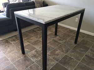 CRATE & BARREL WHITE MARBLE BAR HEIGHT TABLE! Retails $1400