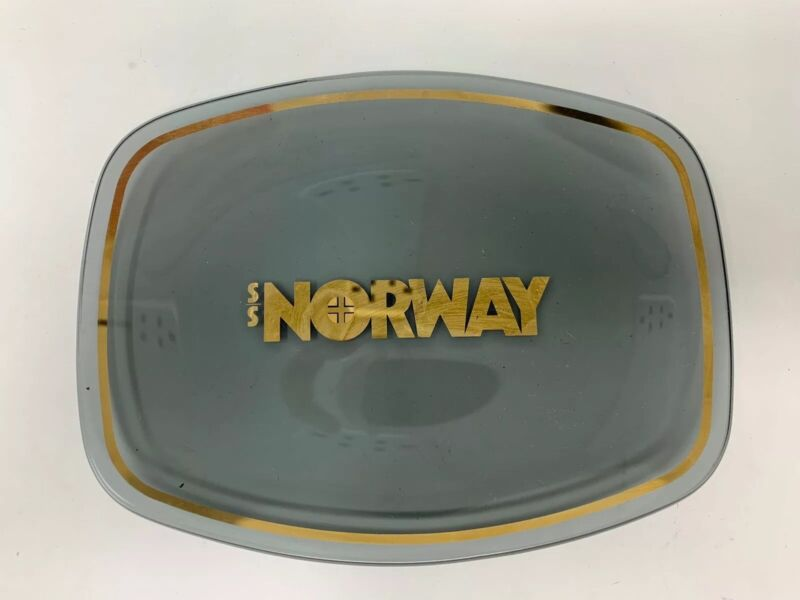 Vintage 1970s Norwegian Cruise Lines SS Ship Norway Smoked Glass Dish Tray