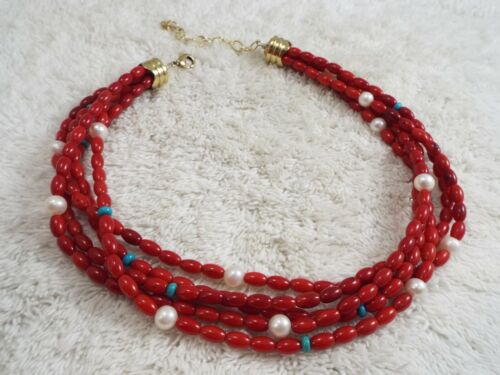 Multi Strand Pearl & Red Coral Bead Necklace (B50)