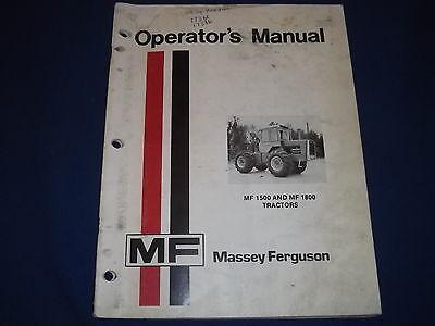 Massey Ferguson Mf-1500 Mf-1800 Tractor Operation Maintenance Book Manual