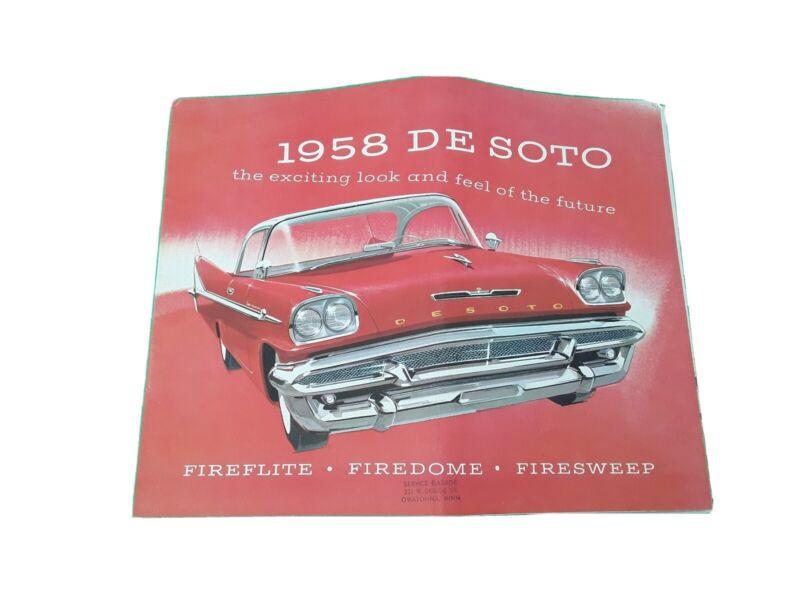 """1958 De Soto Fireflite Firedome Firesweep Car Dealer Sales Brochure 14 x 11"""""""