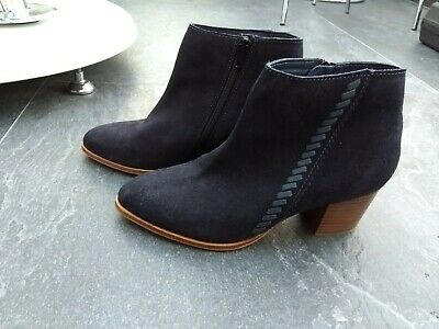 Monsoon Ladies Navy Suede Ankle Boots Size 5 Excellent Condition