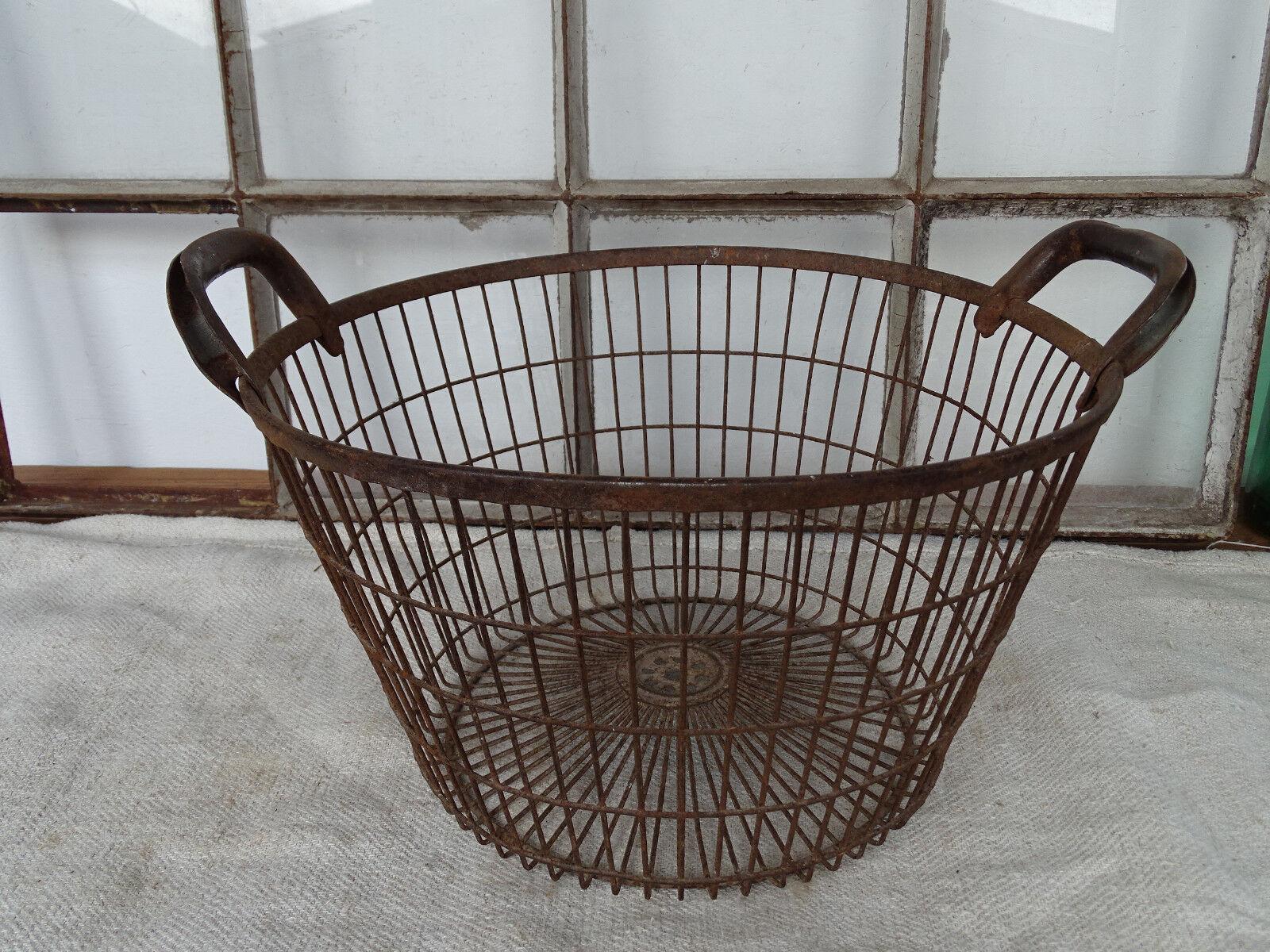 Q3420 Metallkorb ~ ANTIK ~ Kartoffelkorb ~ Drahtkorb um 1930 ~ Eisenkorb