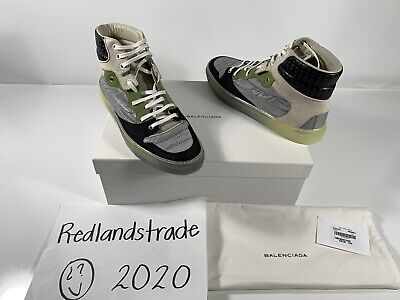 Balenciaga Mens High Top Sneakers Grey Green Tan Black Paneled Shoes Sz 42 NIB