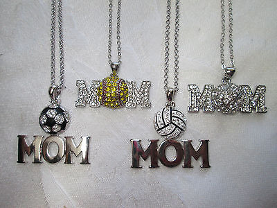 MOM NECKLACE Volleyball Soccer Softball Rhinestones BLING! Classy and Cute!