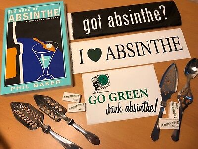 Absinthe Set, Sugar Cubes, 4 Spoons, Stickers, Absinthe History Book Phil Baker
