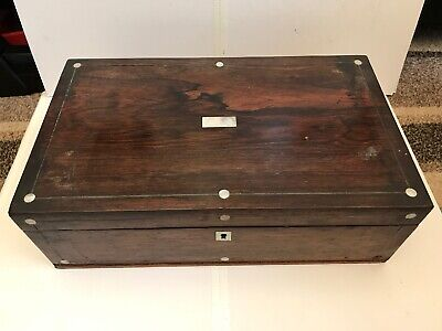 Victorian Rosewood Mop Writing Slope Box