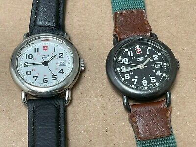 LOT 2 Vintage Victorinox Swiss Army Cavalry Military Style Watches Black / White