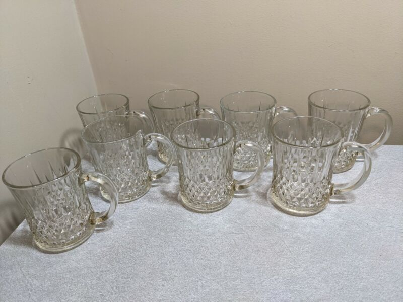 Set of 8 vintage KIM Clear Pressed Glass Coffee Cups Mugs Made In Indonesia