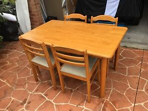 Solid timber dining table with 4 chairs Pagewood Botany Bay Area Preview