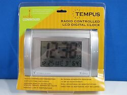 Tempus TC17WRC Radio Controlled LCD Digital Clock New in The Box Silver