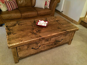 Chunky wooden coffee table ebay for Large chunky coffee table
