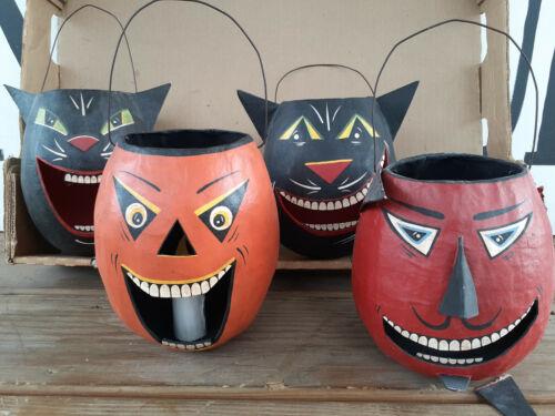 Vtg Handmade Paper Mache? Pumpkin Black Cat Devil Treat Pail Halloween Folk Art