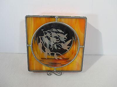 Jewelry Box Trinket Etched Stained Glass Hummingbird Mirror Bottom Orange Brown Hummingbird Stained Glass Jewelry Box