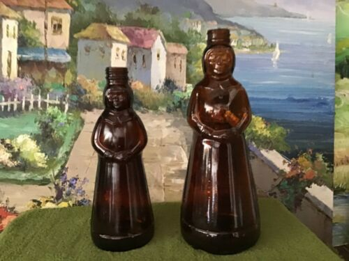 2 Collectible Syrup Bottles  Empty  Brown Glass