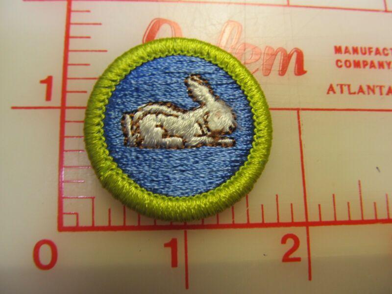 RABBIT RAISING merit badge plastic backed patch (oP)