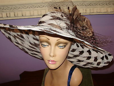 Derby Hat BROWN AND OFF WHITE Church Wide Brim Hats 22 1/2