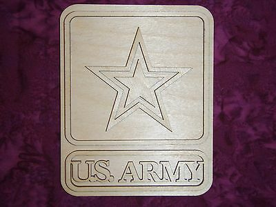 U.S. Army Badge Unfinished Wooden Military Cutout Artistic Craft Supply