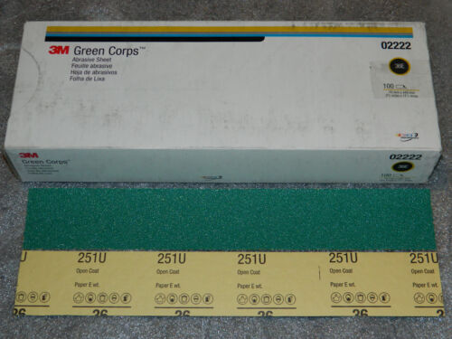 """NEW 3M 02222 GREEN CORPS PRODUCTION RESIN 100 SHEETS 2-3/4""""x17-1/2"""", 36E GRIT"""