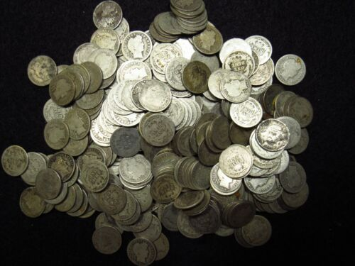 BARBER DIMES 50 COIN FULL ROLL MIXED DATE/MINTMARK AVERAGE CIRCULATED 90% SILVER