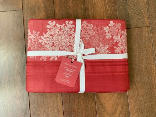 "WILLIAMS SONOMA Snowfall JACQUARD TABLECLOTH Red White CHRISTMAS HOLIDAY 126"" NW"