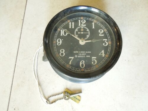 Mark I Boat Clock U.S. Navy 1942 WWII Maritime Marine Ship Clock w Key Works GD