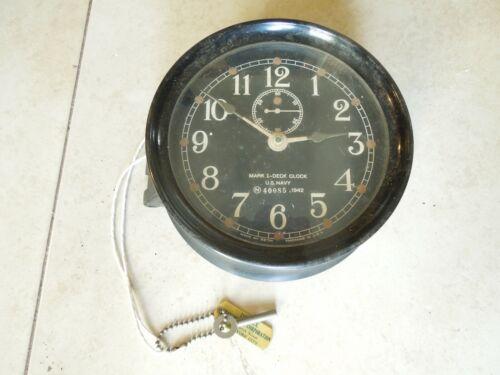Mark I Boat  Deck Clock US Navy 1942 WWII Maritime Marine Ship Clock w Key Works