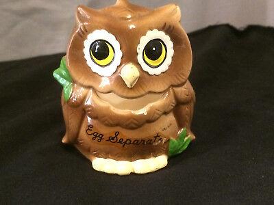 "Vintage OWL EGG SEPARATOR ~ 3½ x 3 x 2½"" ~ Bright Colors ~ KOREA ~ Hoot Owls"