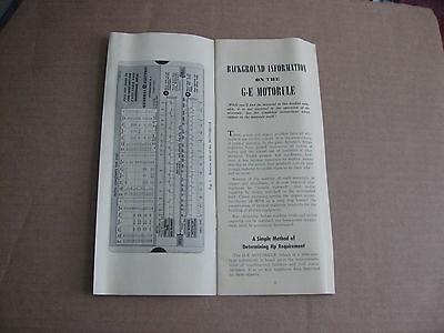 1942 The MOTORULE Slide Rule User Manual Guide General Electric Metal Steel