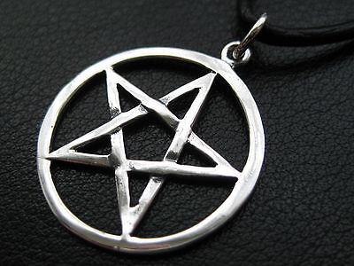 Pentagramm 925'er Silber Anhänger Weissmagisch  + Echtlederband Gothic / KA 213
